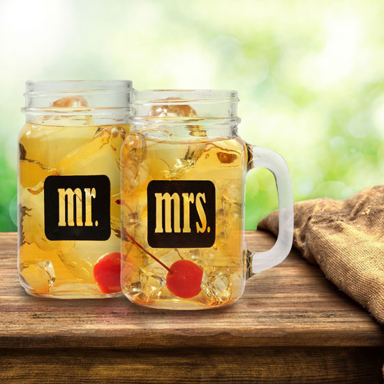 Mr Mrs Mason Jars Glass Set