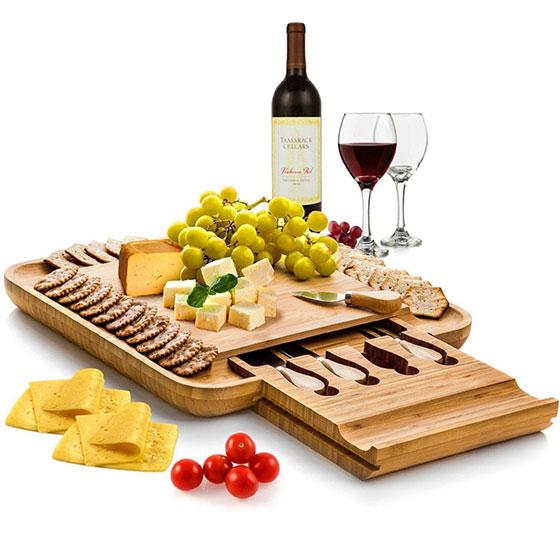 Natural Bamboo Cheese Board & Cutlery Set