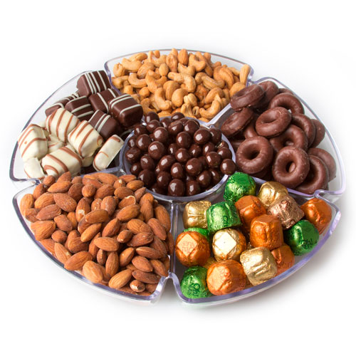 Overflow Of Kosher Nuts & Chocolate Gift Tray 13