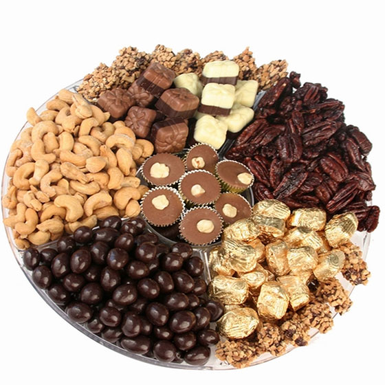 Overflow of Kosher Nuts & Chocolate Gift Tray