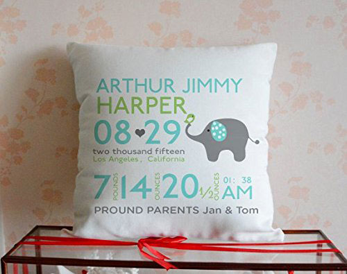 Personalized Baby Birth Announcement Baby Elephant Decorative Pillow Cover
