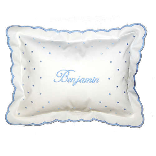 Personalized Blue Swiss Dot Scalloped Pillow