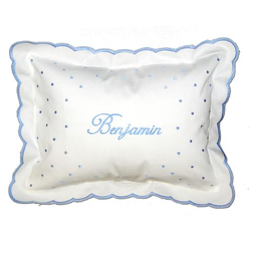 Personalized Blue Swiss Dot Scalloped Pillow