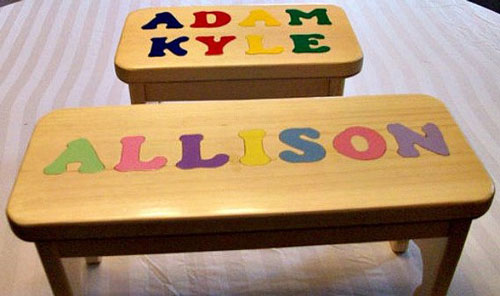 Personalized Hand Crafted Name Puzzle Stool