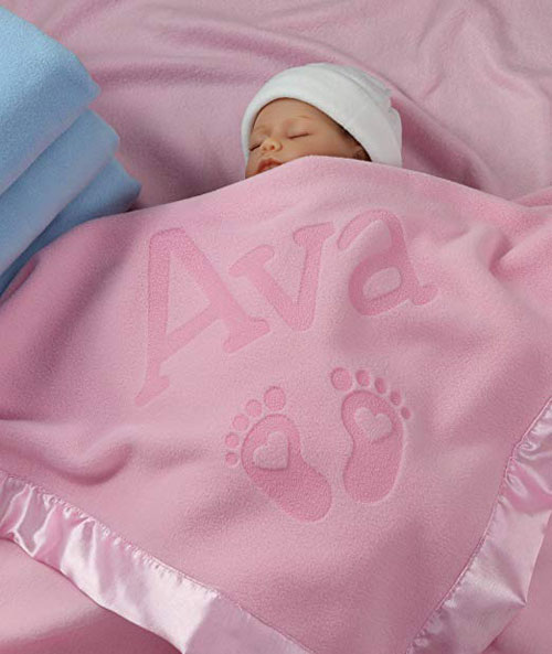 Personalized Satin Trim Custom Blanket For Newborn Babies