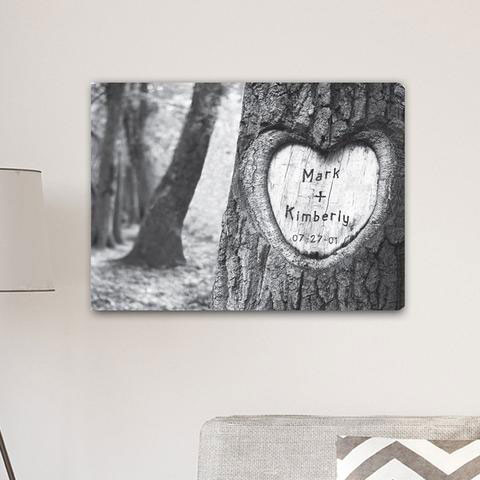 Personalized Signs Everlasting Love Tree Carving Canvas Sign