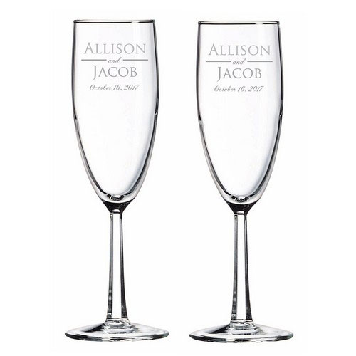 Personalized Wedding Anniversary Glass Toasting Flute Set