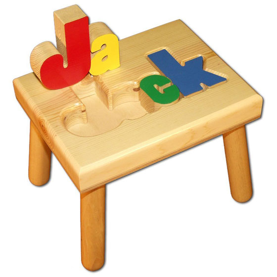 Personalized Wooden Childs Name Puzzle Stool