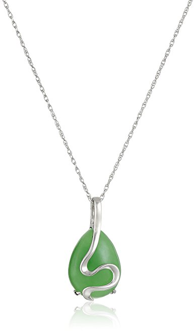 Rhodium-Plated Sterling Silver Green Jade Pear-Shape Necklace