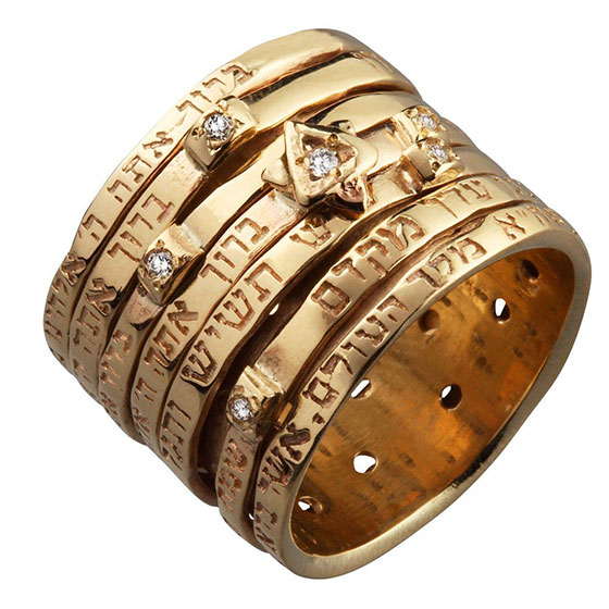 Seven Blessings Gold and Diamonds Spinning Ring