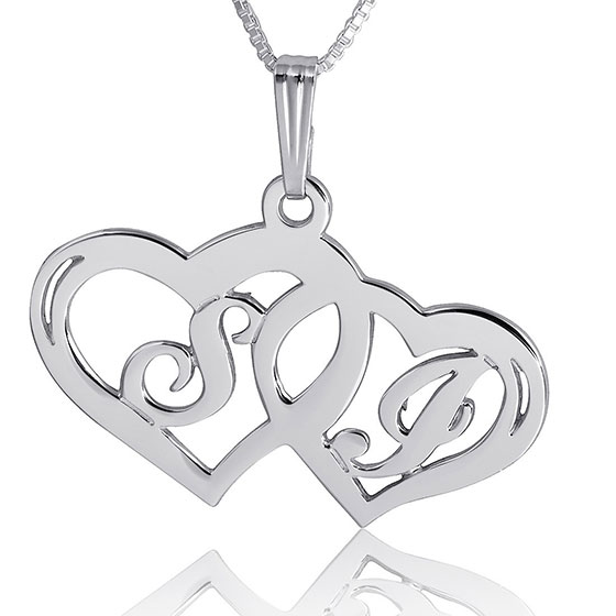 Silver Double Heart Necklace with Personalized Initials - (Victorian Script)