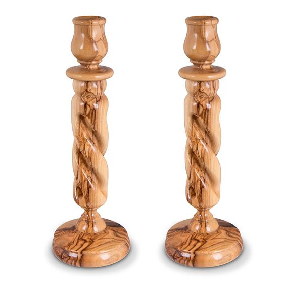 Solid Spiral Olive Wood Candlesticks