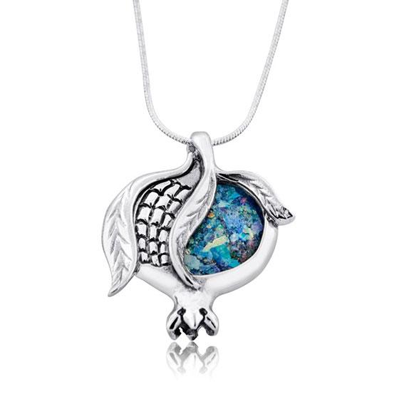 Split Roman Glass & Silver Pomegranate Necklace