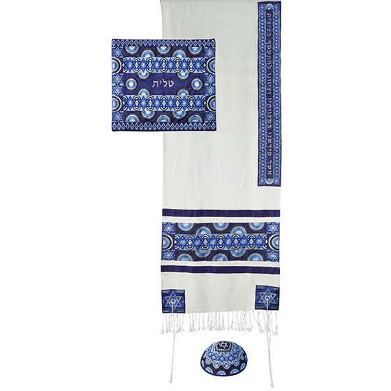 Stars of David: Yair Emanuel Embroidered Raw Silk Tallit