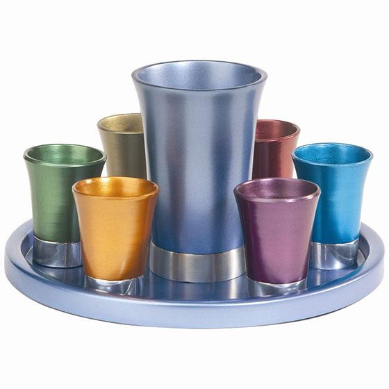 Yair Emanuel Anodized Aluminum 8 Piece Kiddush Set