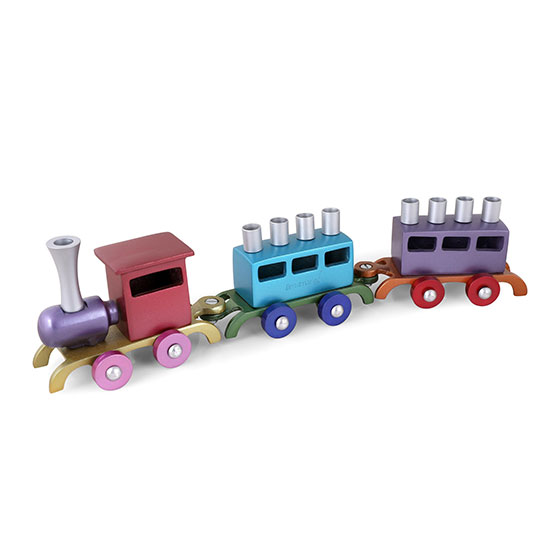 Yair Emanuel Anodized Aluminum Children's Train Hanukkah Menorah