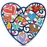 Yair Emanuel Hand Painted Heart Wall Hanging