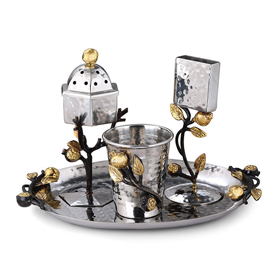 Yair Emanuel Stainless Steel Pomegranate Havdallah Set