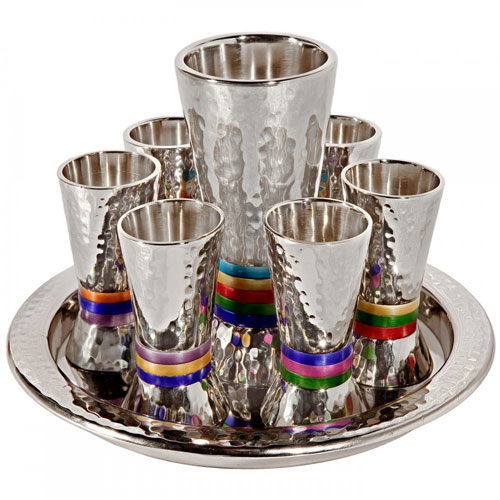 Yair Emanuel Textured Nickel 8-Piece Kiddush Set