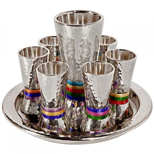 Yair Emanuel Textured Nickel 8-Piece Kiddush Set