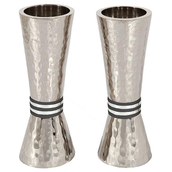 Yair Emanuel Textured Nickel Conical Candlesticks