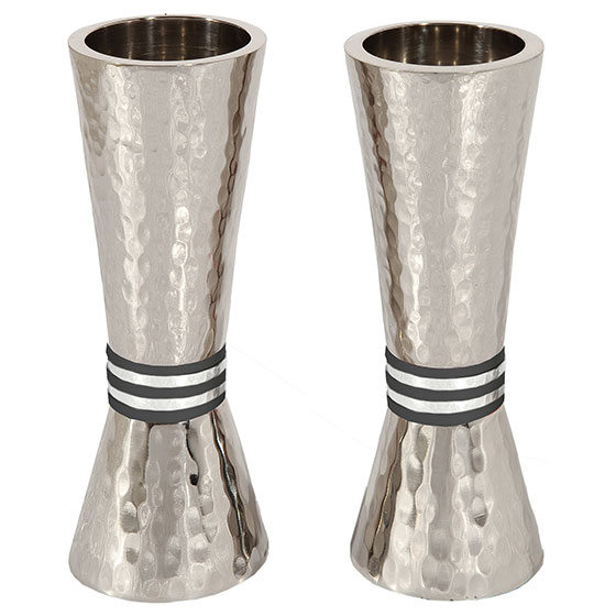Yair Emanuel Textured Nickel Conical Candlesticks