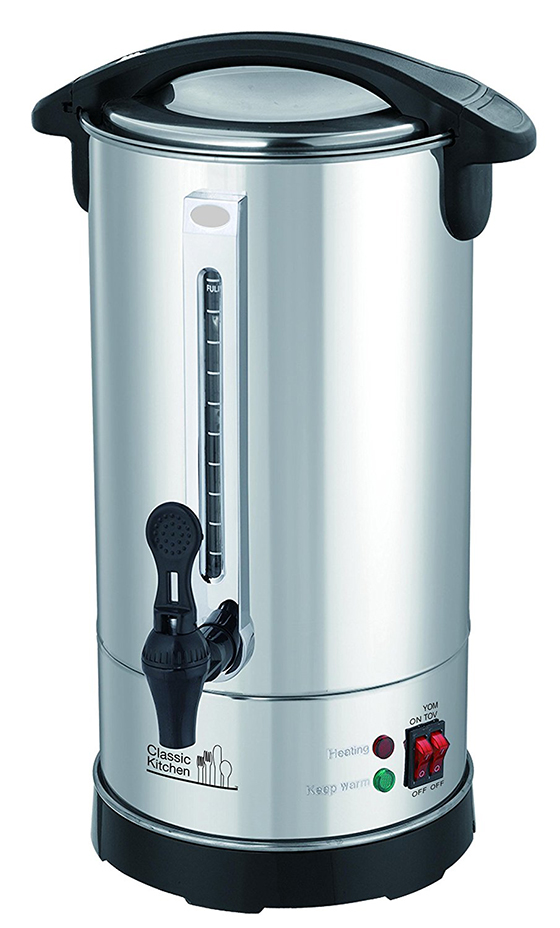 40 Cup Stainless Steel Double Wall Insulated Hot Water Urn with Holiday (Yomtov) Switch