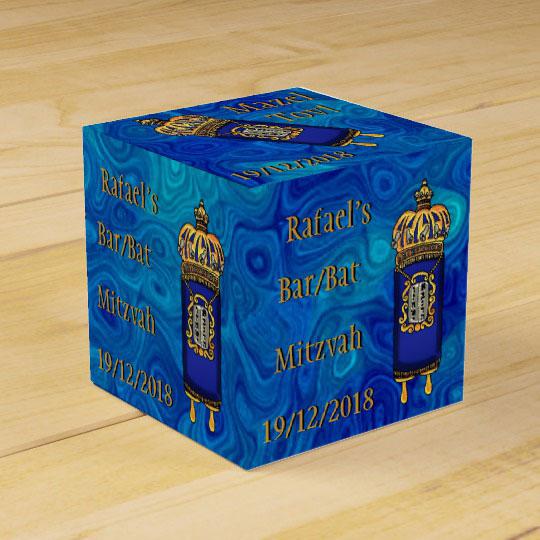 Bar-Bat Mitzvah Torah on Blue Marble Personalized Favor Box