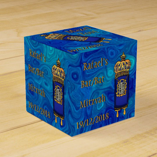 Bar-Bat Mitzvah Torah on Blue Marble Personalized Favor Box