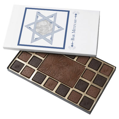 Bar Mitzvah Star Of David Elegance Photo Gift 45 Piece Box Of Chocolates