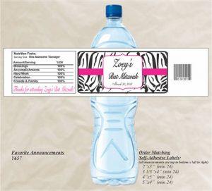 Bat Mitzvah Water Bottle Labels with Zebra Print (Set of 20)