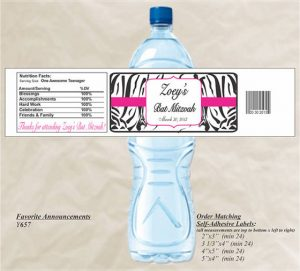 Bat Mitzvah Water Bottle Labels with Zebra Print (Set of 20)