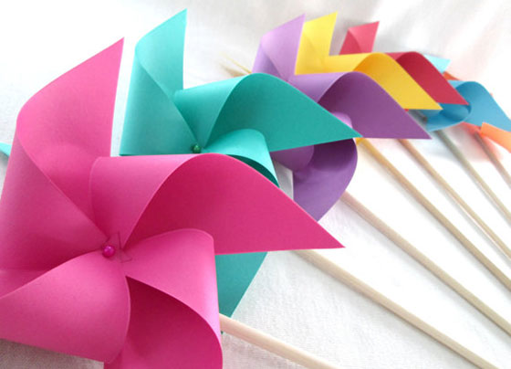 Bat Mitzvah Paper Pinwheels in Bright Solids Twirling