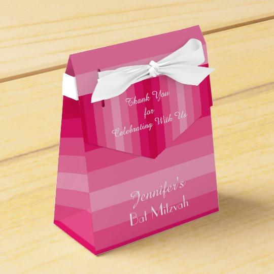 Bat Mitzvah Pink Stripes Favor Box