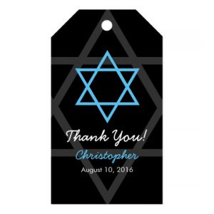 Black Blue Bar Mitzvah Thank You Favor Tag