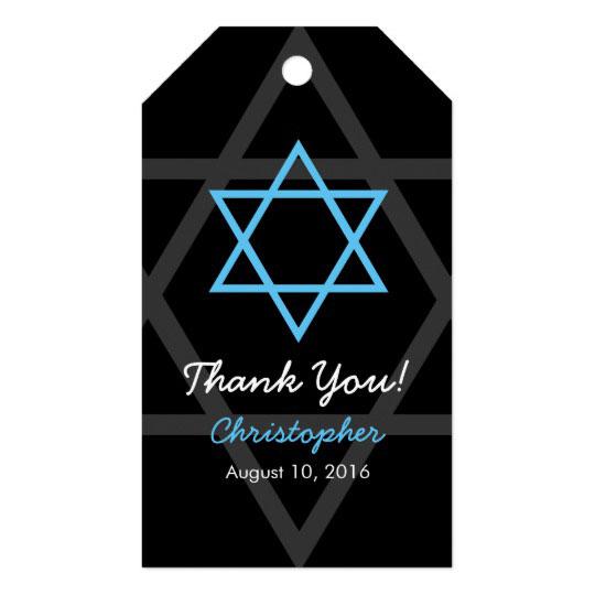 Black Blue Bar Mitzvah Thank You Favor Tag