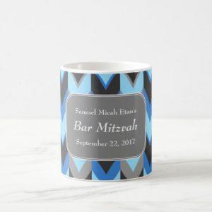 Blue and Gray Chevron Pattern Bar Mitzvah Coffee Mug