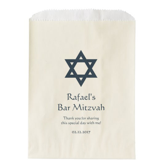 Dark Blue Bar Mitzvah Personalized Favor Bag