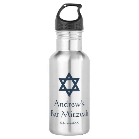 Dark Blue Bar Mitzvah Personalized Water Bottle