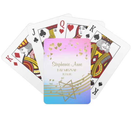 Music Love Song Bat Mitzvah Playing Cards