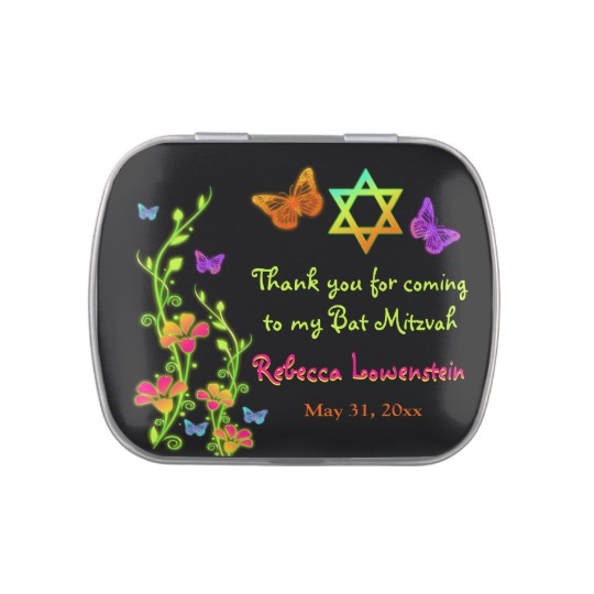 Neon Butterfly Floral Bat Mitzvah Favor Candy Tin