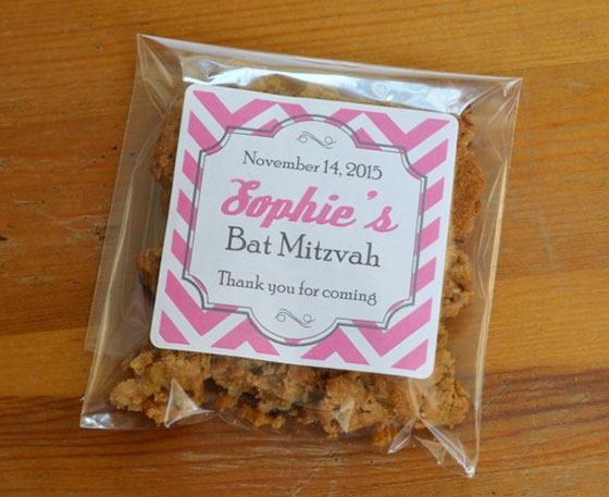 Personalized Cellophane Bags with Labels Bat Mitzvah Favor