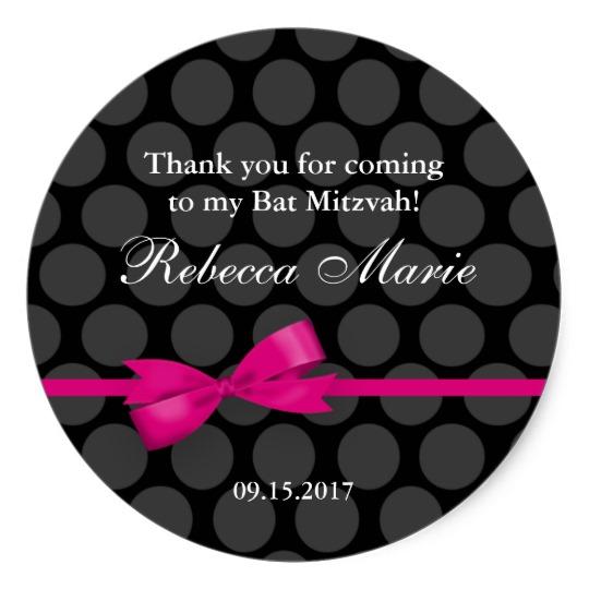 Pink & Black Polka Dot Bow Bat Mitzvah Favor Classic Round Sticker