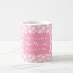 Pink Floral Bat Mitzvah Coffee Mug