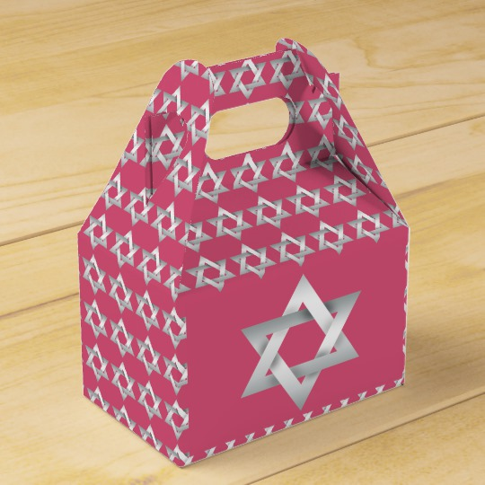 Pink Silver Tone Star of David Favor Box