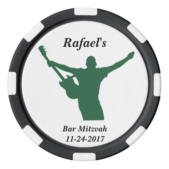 Rock Star Bar Mitzvah Party Favor Custom Name Date Poker Chips Set