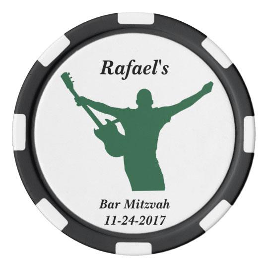 Rock Star Bar Mitzvah Party Favor Custom Name Date Poker Chips Set