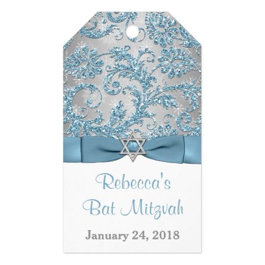 Winter Wonderland Bat Mitzvah Favor Tag – Ice Blue