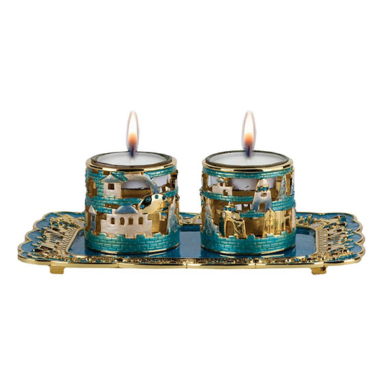 24K Gold Plated Jerusalem Candle Holders with Tray Turquoise with Sapphire Crystals