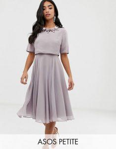 Asos Design Midi Dress With 3d Embellished Neckline